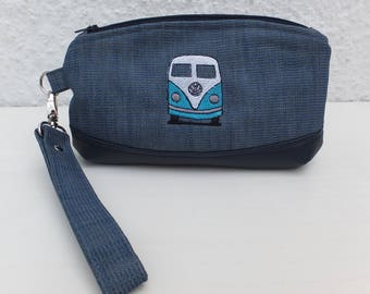 VW Wristlet Clutch, Purse, Clutch Bag, Wristlet, Denim Embroidered Clutch, Gift for Her