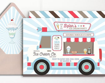 Ice Cream Invitation Truck Ice Cream Party Parlor Parlour Printable Blue Red Mint Van Ice Cream Social Boys Birthday 1st 2nd 3rd 4th 5th