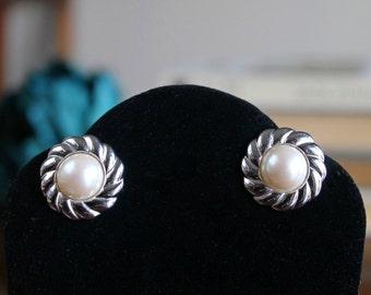 Monet earrings | silver stud earrings | small silver costume earrings