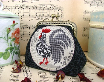 Coin purse clutch with rooster on one side