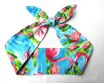 Head Scarf hair wrap Pink Flamingo Pinup Rockabilly Bandana  Pink Blue Lotus Print