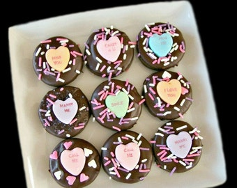 Conversation Heart Dipped Oreos