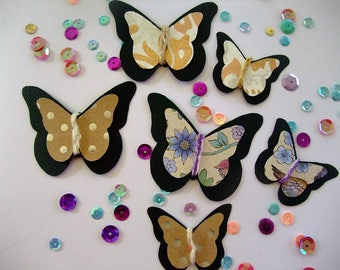 Handmade Butterflies embellishments in 3 different papers, Set of 6 in 2 sizes