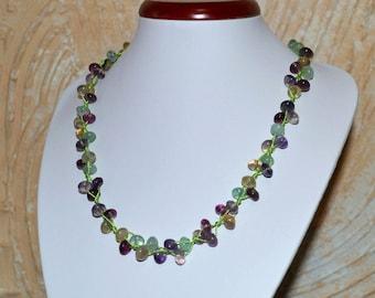 Fluorite necklace. Women beaded necklace. Fluorite jewelry.