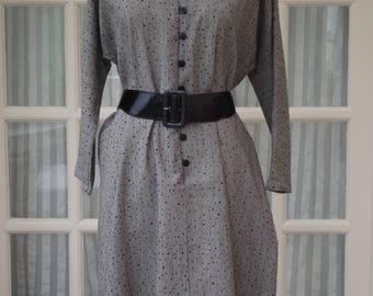 Jaeger Dress Size UK16 1980s Wool Grey