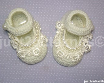 Hand Knitted Designer Baby Girl Booties Mary Jane Lace Pearl & Diamantes  Newborn Special Occasion Baby Shower Original Reborn Doll #74