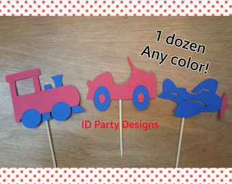 PLANES TRAINS and AUTOMOBILES Transportation Cupcake toppers