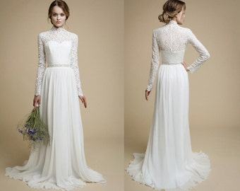 NESSA Long Sleeve Lace Wedding Dress Bohemian Bridal Gown Rustic Top Modest