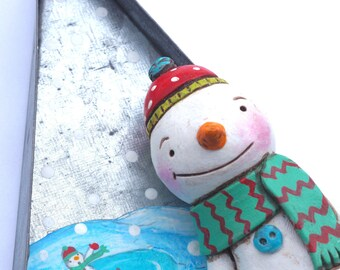 Skating Snowman In Tin Tree folk art sculpture from polymer clay