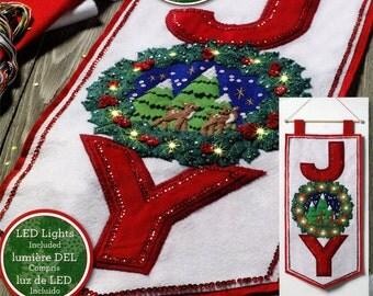 Bucilla Season Of Joy ~ Felt Christmas Wall Hanging Kit #86741, Real LED Lights DIY
