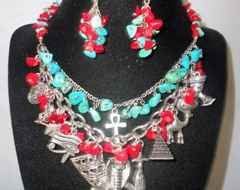 An Egyptian Inspired Charms Coral Turquoise Necklace Set****.