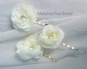 WEDDING HAIR Pins, Bridal Hair piece, Petite Rose Peony, Bridal Flowers, Beach Wedding, Hair clip, Hair Accessory, Hair Flowers, Fascinator