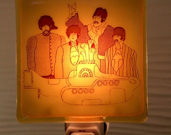 Beatles Yellow Submarine Night Light Fused Glass