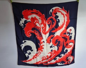 """Vintage Silk hand rolled Scarf Nautical Waves Red White Blue 77cm x 75cm / 30.3"""" x 29.5"""""""