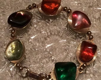 Vintage Silver-tone Bracelet With Multi-colored Glass Cabochons.