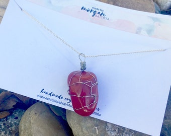 Red Jasper Crystal Wire Wrapped Pendant