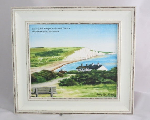 Coastguard Cottages framed foam backed print