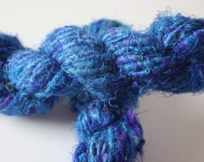 25% OFF Sale***Recycled Sari Silk Yarn - Electric Blue