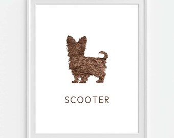 Yorkshire Terrier, Yorkie Art Print, Personalized Dog Art, Dog Wall Decor, Pet Wall Art, Faux Wood 'Look', Dog Print, Dog Silhouette
