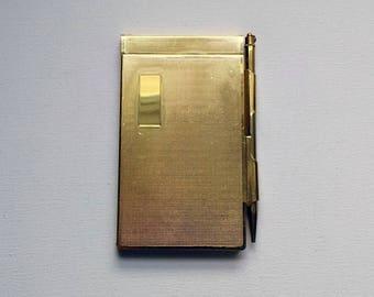 Handbag Notebook Case Vintage with Propelling Pencil in Gold Tone Metal