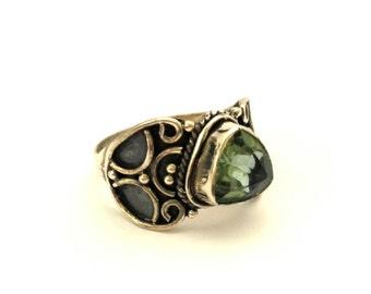 Amethyst Genuine Stone Ring Vintage Sterling Silver 925 Handmade
