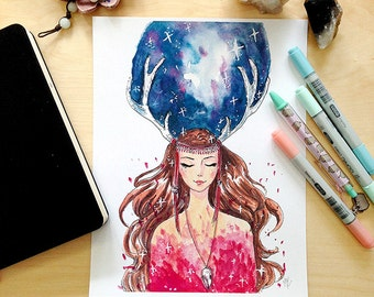Dream Witch Watercolor Illustration Print