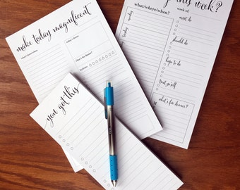 Planning Note Pad starter set with Weekly Docket, Daily Agenda Pages and To Do List