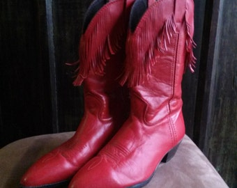 Vintage Women's Red Leather Fringe Western Cowgirl Boots