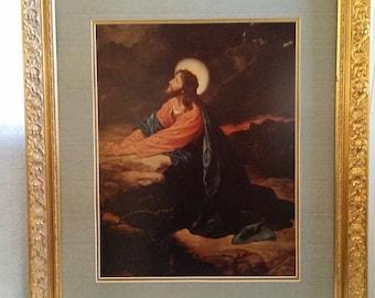 Antique Framed Print of Jesus Praying