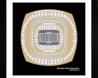 Mercedes-Benz Superdome, New Orleans Saints, Stadium, Seating Art Print, Football Gift, SNOSF1616