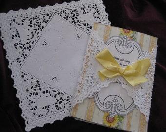"50 -- 8""  inch Square White Paper Lace Doilies - VICTORIAN Floral Pattern DIYS Wedding Envelopes"