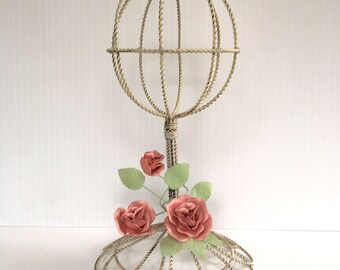 RESERVED FOR RHIANNON - Vintage Wire Hat Stand, 1990's Metal Hat Stand with Metal Roses