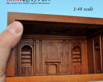 "1:48 1/4"" quarter scale EMPRESS-48 roombox Top quality walnut dollhouse miniature room box"