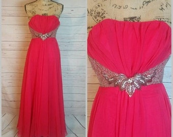 Glamorous Strapless Evening Gown with Rhinestones and Silver Sequin Accents by Mike Benet Formals Size 4 Vintage 1980s Evening Gown