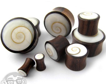 Spiral Sea Shell Inlay Wood Plugs (4G - 1 Inch) - Sold in Pairs - New!