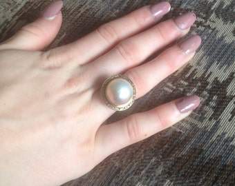 SALE: 14K Gold Natural Mabe Pearl Ring - Ivory Mabe Peral God Ring -14K Yellow Gold Mabe Pearl Ring -  Mabe Pearl Ring - 14K Gold Pearl Ring