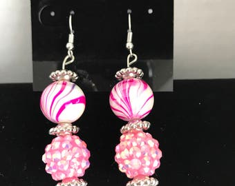 Pink Ball Earrings