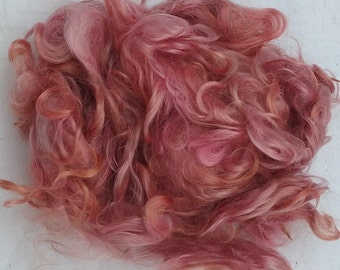 Hand Dyed Varigated Pink and Peach Mohair Locks