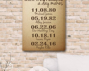 What A Difference A Day Makes Canvas Print - Memorable Dates Canvas - Personalized Dates Print - Anniversary Gift - Couples - CA0145