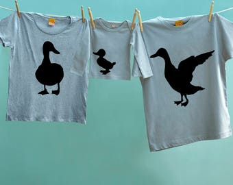 Daddy Drake, Mother Duck and Baby Duckling Matching Great Gift T-Shirt Trio for Dad, Mum and Son or Daughter