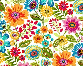 Shower Curtain Bright Flower Print in  Swavelle Mill Creek  Gregoire Prima Indoor /Outdoor Fabric  with Grommets Available in many Sizes