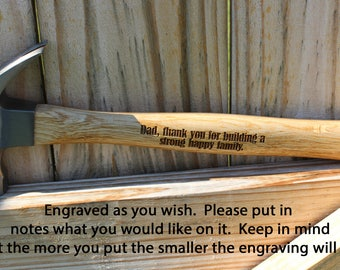 Personalized Hammer, Engraved Hammer, Gift for Dad, Christmas gift for Dad, Custom Hammer, Tools, Father of the Bride gift,  Gift for him