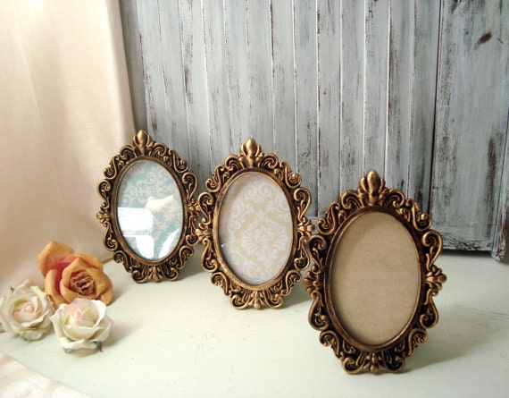 oval ornate gold vintage style 4 x 6 frame by willowsendcottage. Black Bedroom Furniture Sets. Home Design Ideas