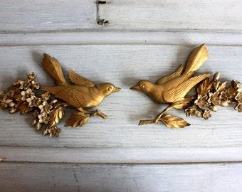 Mid-Century Gold Wall Art Birds Flowers Dart Industries  : vintage