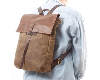 """Canvas Backpack - Laptop Backpack 15"""" - Leather and wax canvas Backpack - Canvas Rucksack - large canvas bag, shoulder bag, hobo bag"""