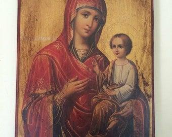 Our Lady Theotokos Byzantine Icon Original Silkscreen(Serigraph)925 Silver  Handmade Wood