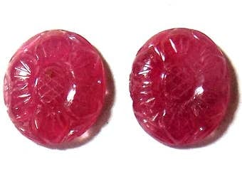 Ruby, Carved Stone, Oval Shape, 1 pair, 10 x 12 mm Size.