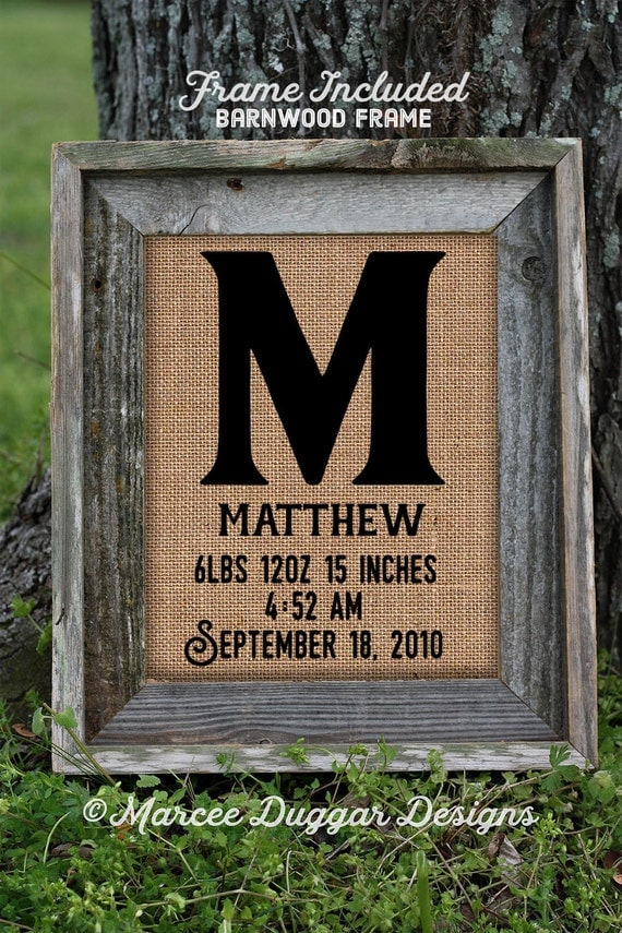 Framed Gift for New Parents | New Baby  | Burlap Print | Initial | baby boy  | baby girl | Name Birth | Pregrancy | 0227