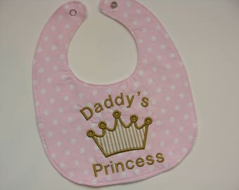 Personalized daddy's princess baby bib - baby girl from Daddy, Mommy, Grandma, Nana, Aunt, grandmother - shower gift