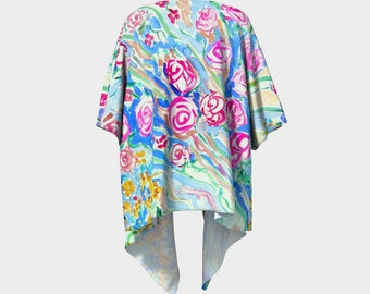 Cover up Kimono Floral Fashion wearable art with artwork by Andrea de Kerpely-Zak